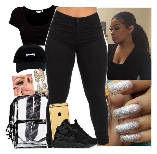 """✔️✔️✔️"" by saucinonyou999 ❤ liked on Polyvore featuring Goldgenie, NIKE and Chanel"