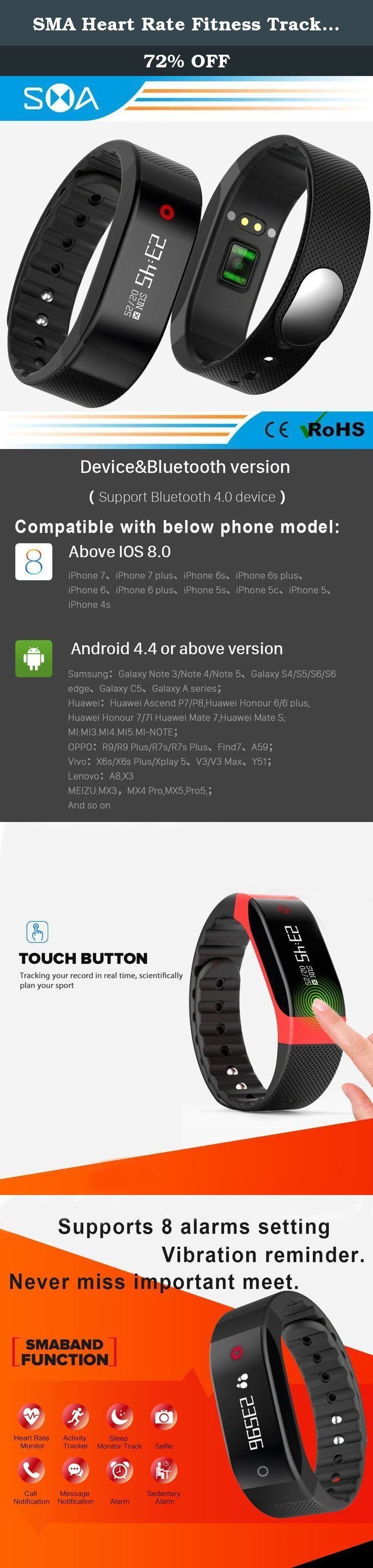 SMA Heart Rate Fitness Tracker, Waterproof Wristband Smart Watch Sports Bracelet Compatible Iphone/Android phones men/women Black. SMA Heart Rate Fitness Tracker, Waterproof Wristband Sports Bracelet Compatible Iphone/Android phones men/women Black Main Feature 1) Two Mode of dynamic heart rate monitor: br> a.Monitor your heart rate 24 hours, you can set in Application, every 15 or 30 or 60 minutes checking once, then SMA Wristband will monitor your heart rate every 15 or 30 or 60 minutes...
