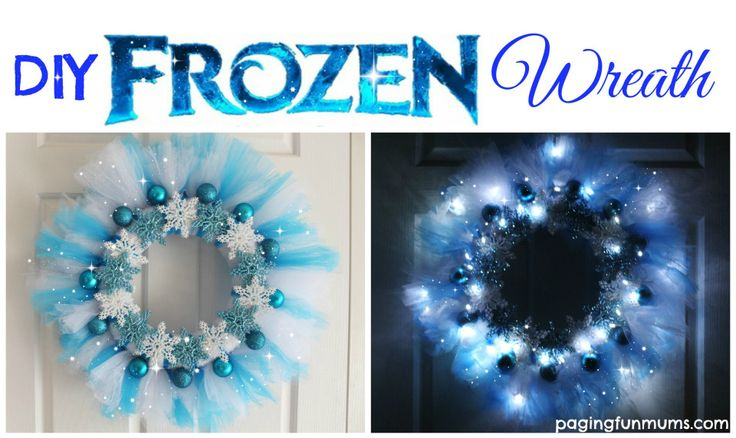 DIY Frozen Wreath. Easy to make and it glows at night, so beautiful!