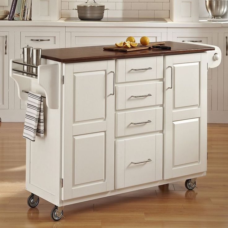 Oak-Top Four Drawer Kitchen Cart, White