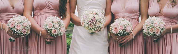 Wedding inspiration, dusty rose BMs dresses with pink rose and baby's breath bouquets <3