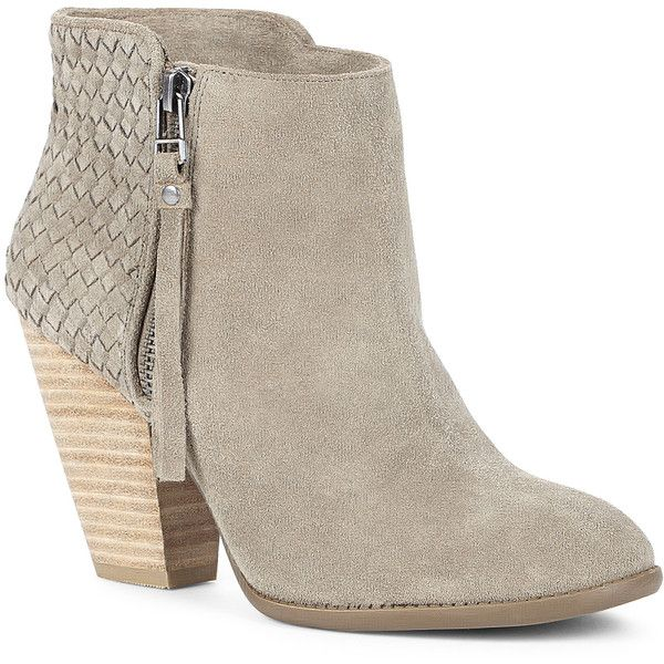 Sole Society Zada Woven Ankle Bootie ($100) ❤ liked on Polyvore featuring shoes, boots, ankle booties, ankle boots, booties, fennel, suede boots, suede bootie, high heel booties and side zip boots