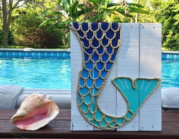Handmade Mermaid Tail with Rope Beach Pallet by BeachByDesignCo #finfun #mermaids #mermaidtail www.finfunmermaid.com