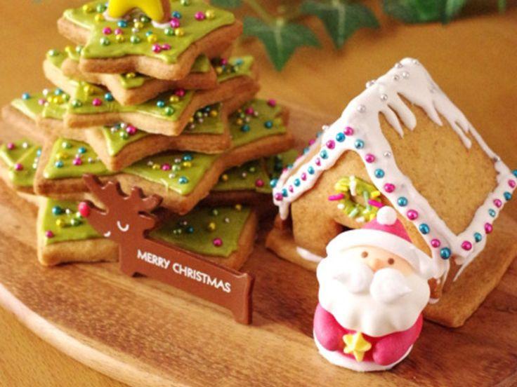 森のクリスマスツリーとミニヘクセンハウス(お菓子の家)のクッキー☆食卓に飾ることのできるクリスマス菓子のある光景2014(簡単クッキーのレシピつき)