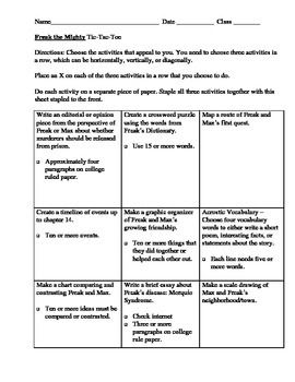 Printables Freak The Mighty Worksheets 1000 images about freak the mighty on pinterest activities tic tac toe board a fun project or activity to go with