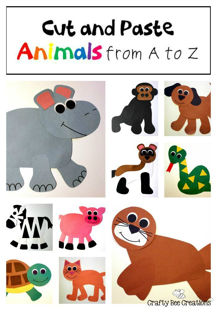 26 Animal Cut and Paste Projects that coordinate with the Alphatale books. Just copy onto construction paper, cut, and glue!