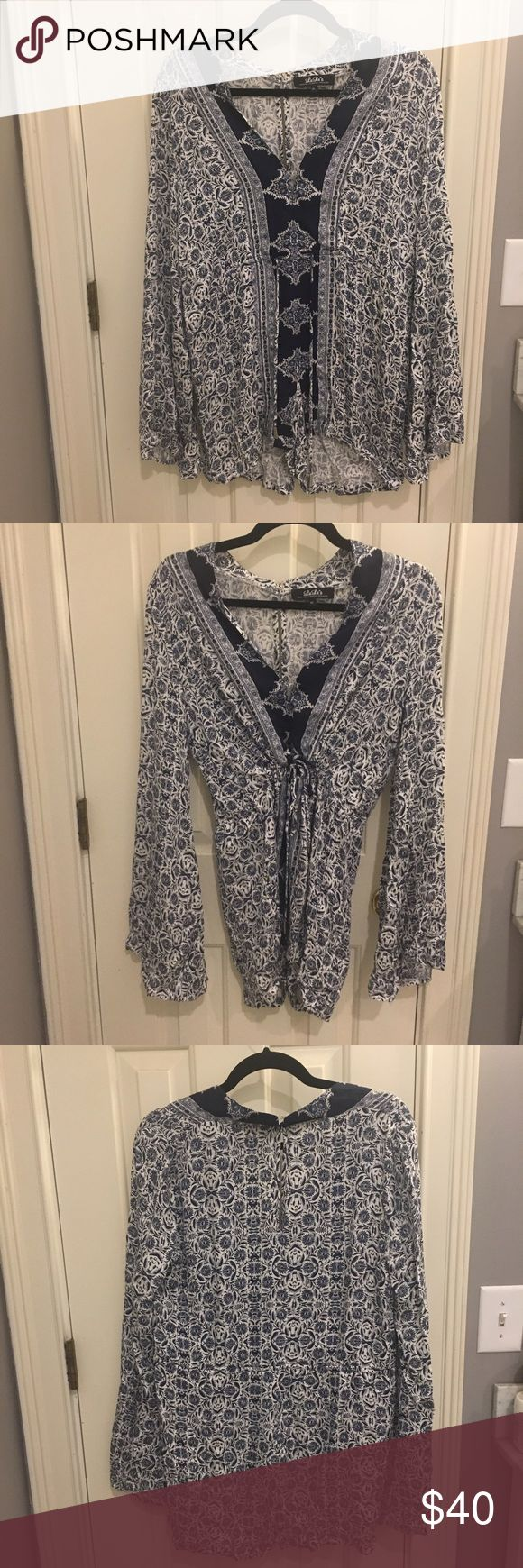 Lulu's Pattern Romper with Adjustable Waist! Super cute patterned long sleeve romper. Perfect for cool summer nights or warm fall days. Never worn! Waist can be adjusted for a looser or more cinched fit! Price is negotiable. Lulu's Pants Jumpsuits & Rompers
