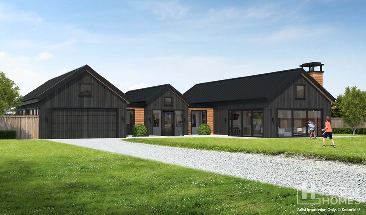 An architectural farm style house with triple gables make this home look absolutely stunning. Working from home is a real option with a good sized office directly off the foyer and a third toilet for guests.  See more about how Big Bay could work for your family at fridayhomes.co.nz.