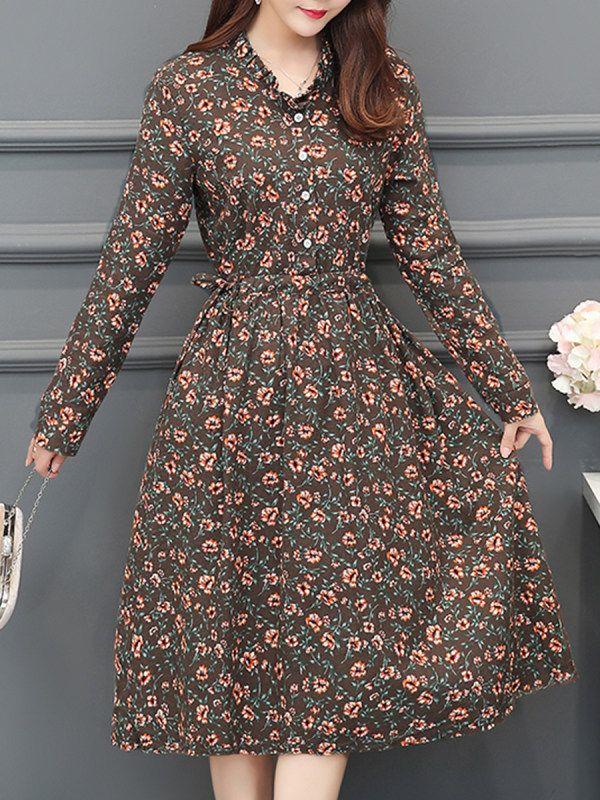 V Neck Patch Pocket Floral Printed Skater Dress Lacielara Com Moda Kadin Elbiseler Moda