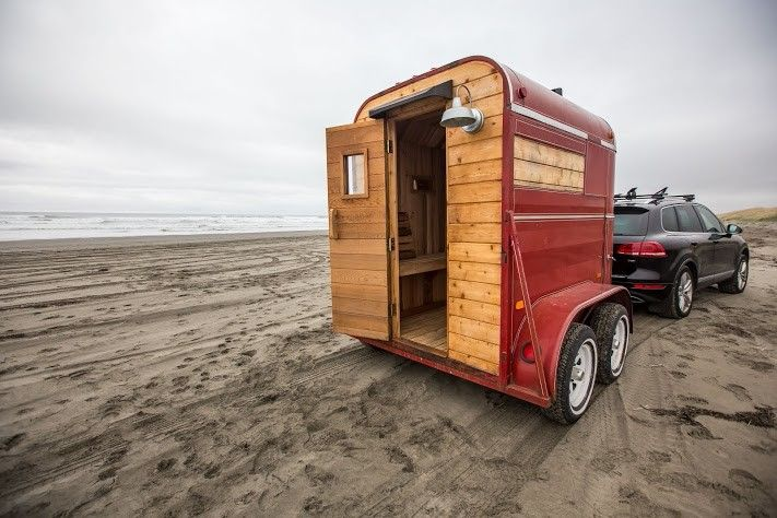 Form Shop Fabrication in Seattle converted this Craigslist Horse Trailer into a Mobile Sauna!
