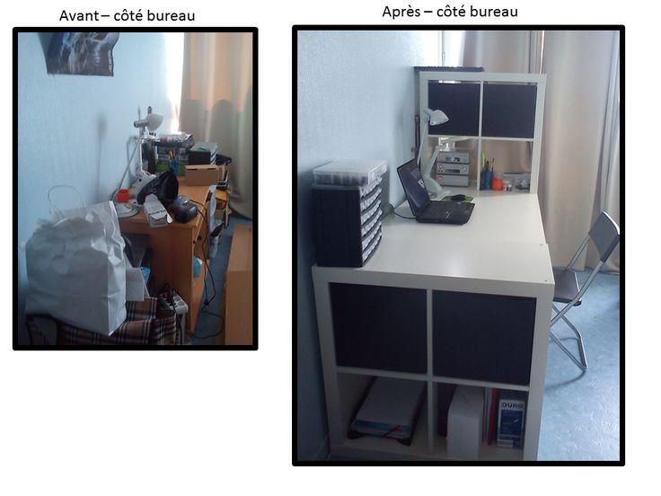 Bureau remplacé par un bureau Expedit (si si ça existe!!)  et une expedit 4 cases.