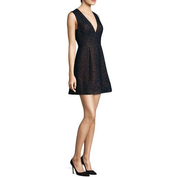 Laundry by Shelli Segal Metallic Jacquard Mini Dress ($245) ❤ liked on Polyvore featuring dresses, short dresses, laundry by shelli segal dress, jacquard mini dress, sleeveless dress and v-neck dresses