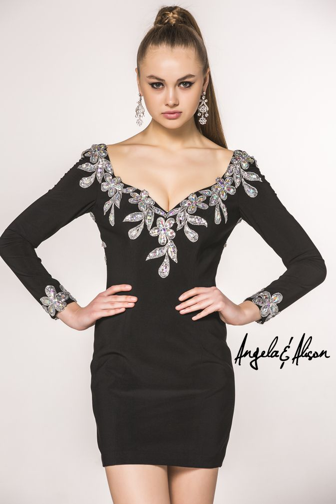 Style 42031 Off the shoulder v-neck long sleeved beaded cocktail dress. Perfect for Prom, Homecoming, Gala, Wedding, Formal, Graduation, Ball... etc.