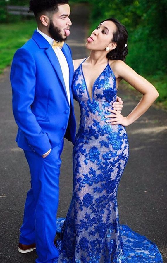 9c200fe5071 Mermaid Deep V-Neck Royal Blue Tulle Sleeveless Prom Dress with ...