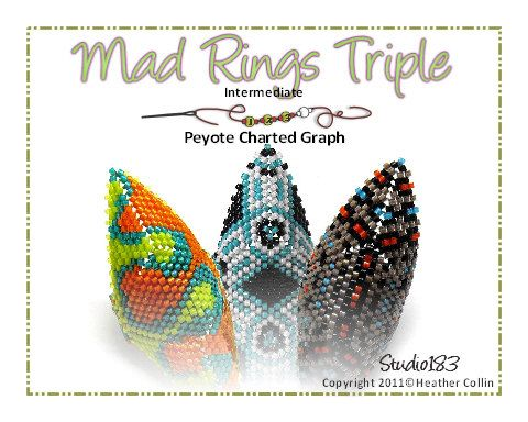 3 Ring Patterns! Mad Rings 1, 3 & 4 Bead Weaving Pattern Peyote Stitch Tribal Ring Level: Intermediate - must know how to read a charted