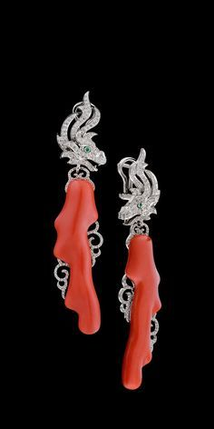 Earrings 11451 Collection: Mysticism 18K white gold coral 3524 ct diamonds emeralds.