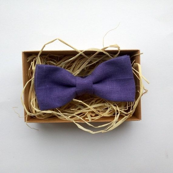 Lilac Linen Bow Tie / Male bow tie / Purple bow by ArtOfLithuania