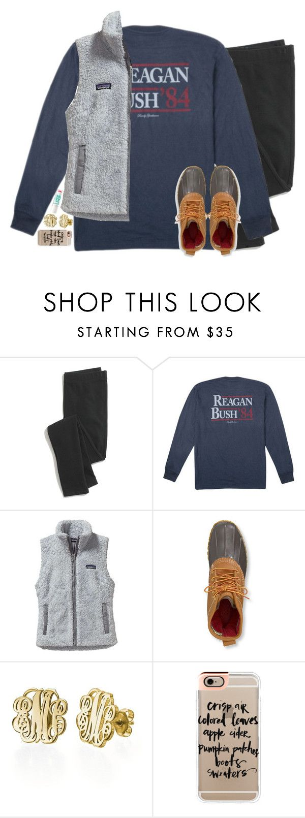 """Reagan Bush' 84"" by emmig02 ❤ liked on Polyvore featuring Madewell, Patagonia, L.L.Bean, My Name Necklace, Maybelline and Casetify"