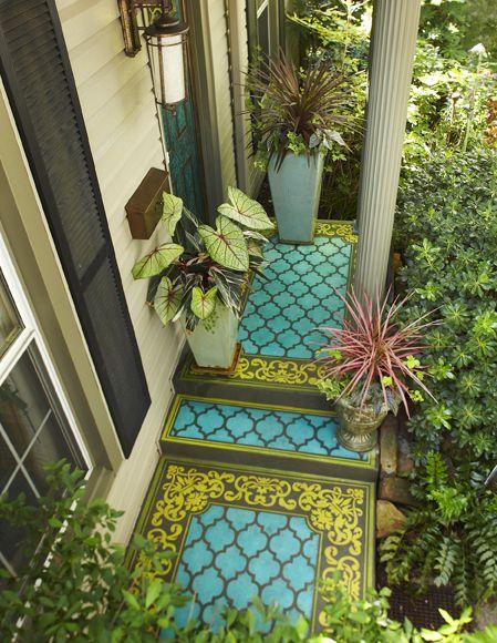stenciled concrete porch using Modello concrete carpet stencils.