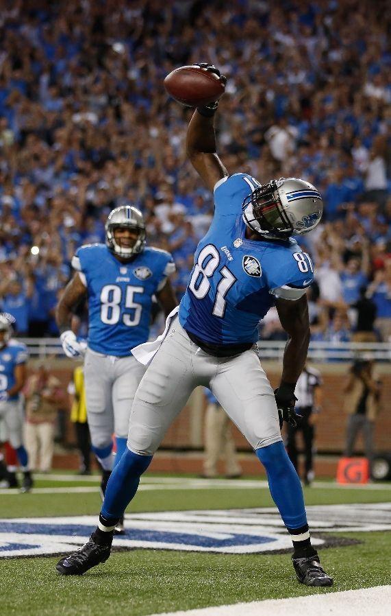 Calvin Johnson celebrates a first quarter touchdown, 09/08/2014