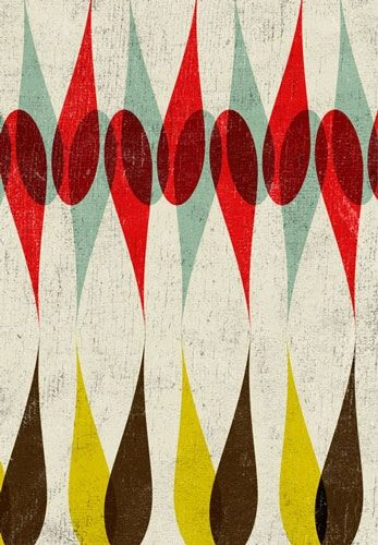 abstract : geo : mid-C inspiration : boobyalla, no. 2 scandi 70's style repeat relief print design