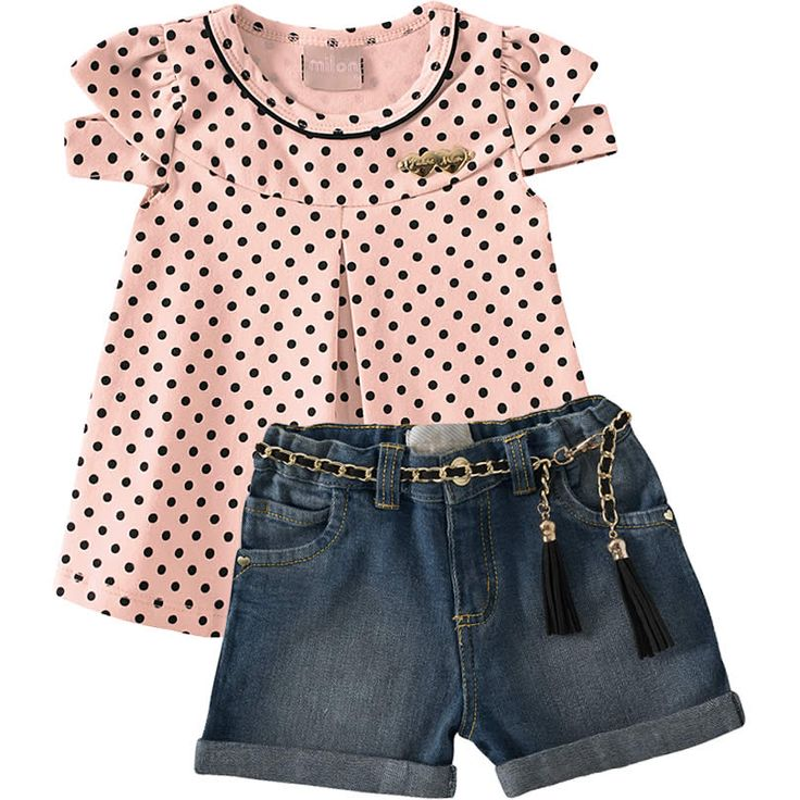 Conjunto Infantil Jeans Feminino de Verão 2013 Bege - Milon :: 764 Kids   Roupa bebê e infantil