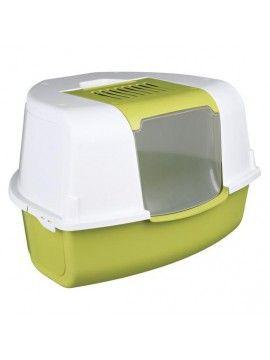 Бело - зелёный угловой туалет с фильтром и дверцей - 58 × 38 × 50 см