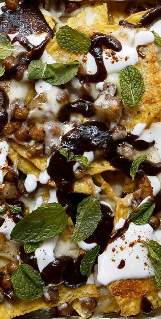 Indian-style nachos with tamarind chutney. Yes please.