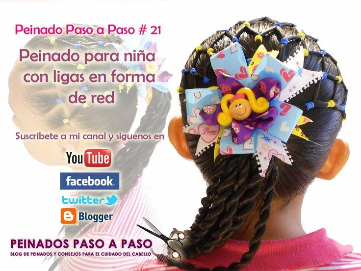 Peinado Paso a Paso # 21 - Peinado para  niña con ligas en forma de red ...
