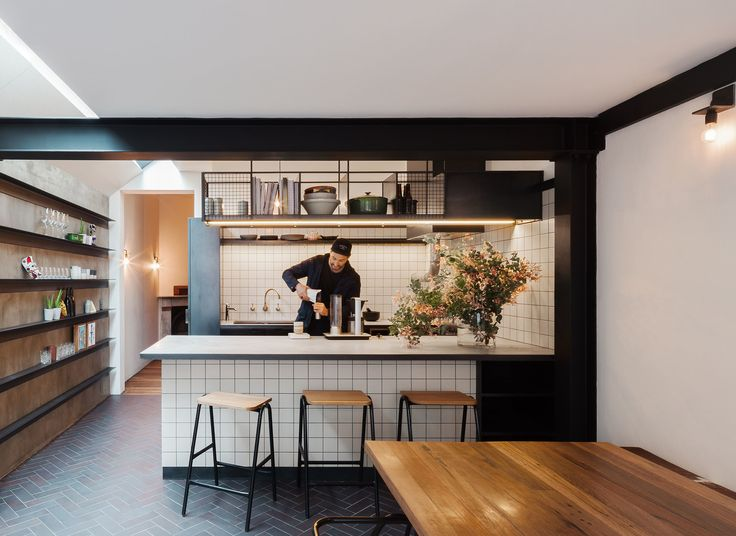 kitchen and shelving on wall