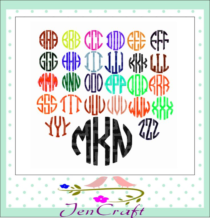 Circle Font Monogram SVG-Monogram Letters, Cut files for Cricut Silhouette, svg files, Cutting Files, Monogram font, instant download by JenCraftDesigns on Etsy