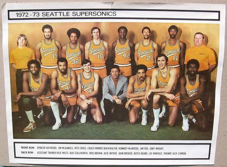 Rare Official 197273 Seattle Super Sonics TEAM POSTER