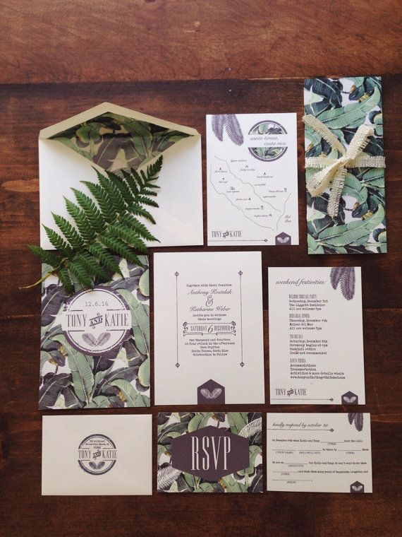 Banana Leaf Wedding Invitation by CentanniDesign on Etsy