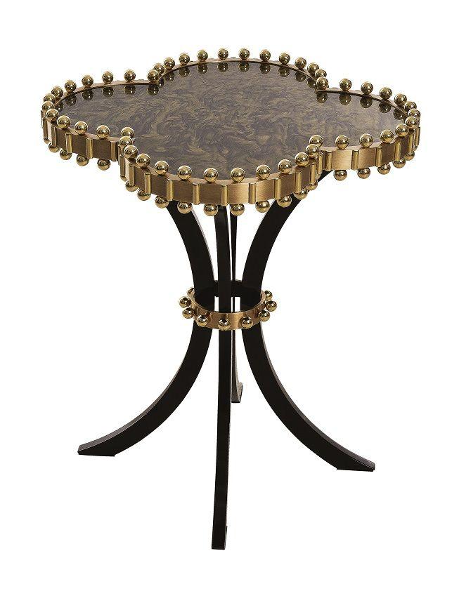 MARI IANIQ  signature design - the HAPPY CLOVER side table made of 40kg of barass with an olive nacre top. www.mariianiq.com #gold #interiors #luxury #couture #haute #bespoke #Alhambra #handmade #MARIIANIQ