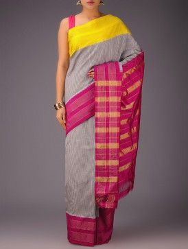 Black-White Checks with Yellow-Red Ganga Jamuna Border Pochampally Ikat Silk Saree