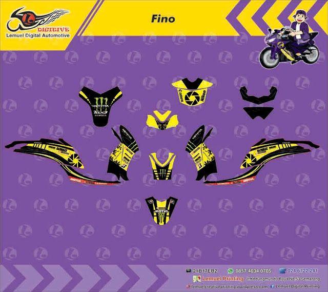 Custom Decal Vinyl Striping Motor Full Body Motor Yamaha Fino Thema Monster Energy Strip Black Yellow Berkualitas by DIGITIVE