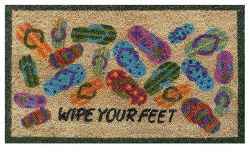 """Lots of Flip-flops-Coir with Vinyl Backing Doormat (17"""" x 29"""") contemporary-doormats"""