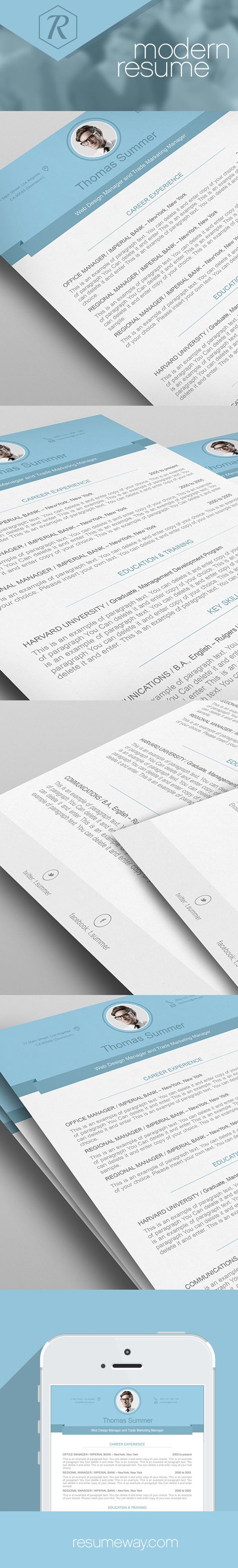17 best images about modern resume templates modern resume template premium line of resume cover letter templates edit microsoft word apple pages resumeway modern resume