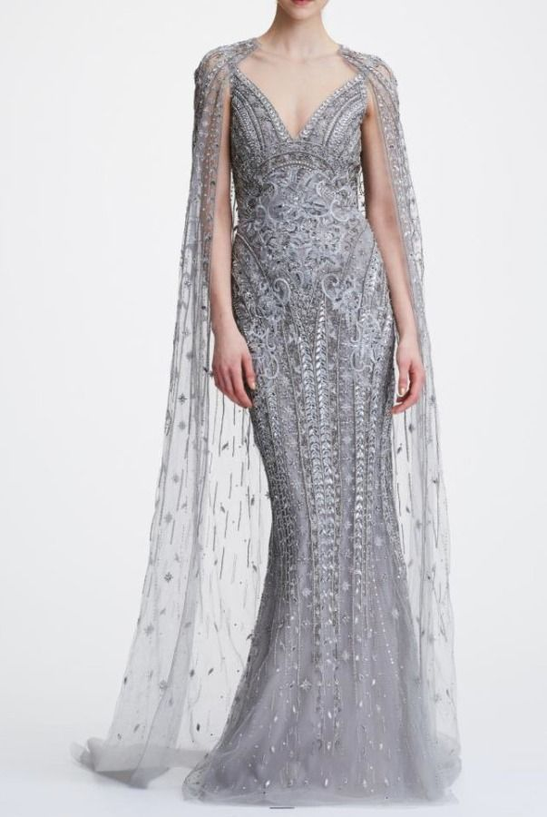 d1f7365d73 Marchesa M23836 Sleeveless Platinum Tulle Gown with Cape | Poshare ...