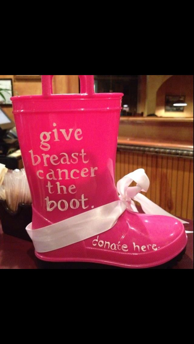 "Give cancer the ""boot"" would look great in purple for relay!"