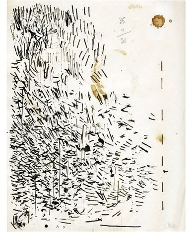 """""""Cleaning My Pen"""", ink on paper 14"""" x 18""""  John Cage (American composer, music theorist, writer, and artist, 1912-1992)"""
