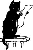 NewspaperCat -  black cat reading newspaper photo, catalog of digital historical newspapers