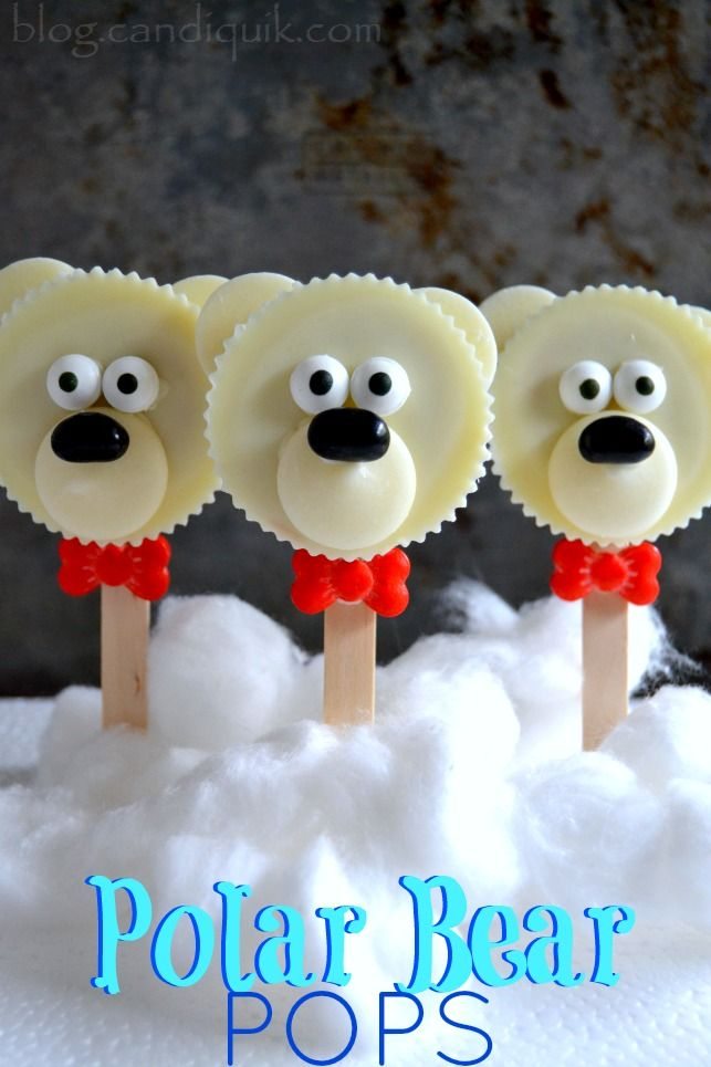 Polar Bear Pops are a fun and easy treat made with candy and sprinkles! #candiquik #christmas #treats