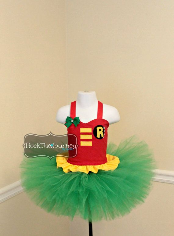 Items similar to Robin Birthday Party Tutu Outfit-Teen Titans Super Hero Dress-Batman Shirt Skirt-Halloween Pageant Costume-Baby Girl Twins Sibling One 1 on ... & 43 best SuperHeroGirls ;) images on Pinterest | Bat girl Comic con ...