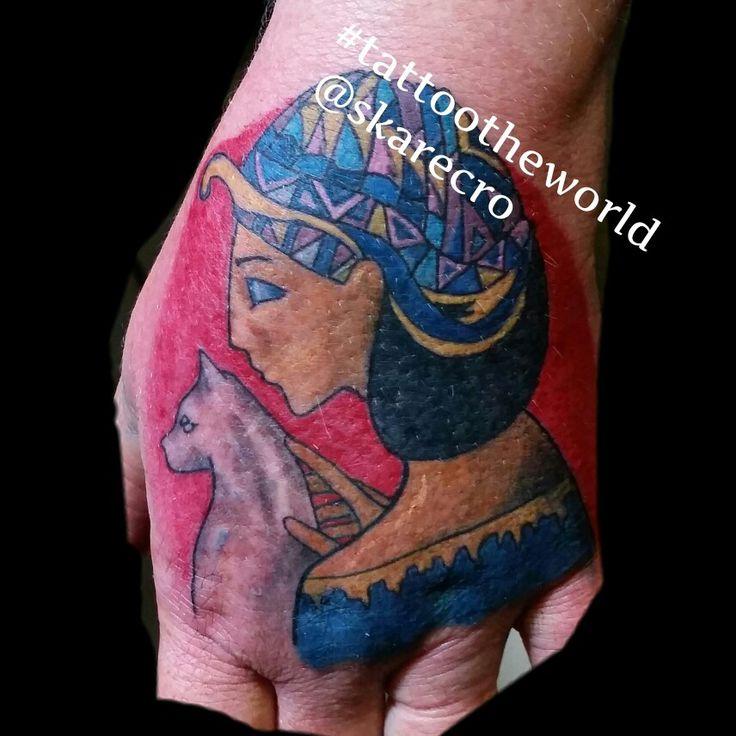 Egyptian cat nefertiti tattoo cleopatra color girl girly hand tattoo odessa tx midland texas cute  girly profile face simple traditional