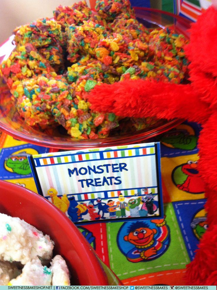 Fruity Pebble Monster Treats for a Sesame Street party?