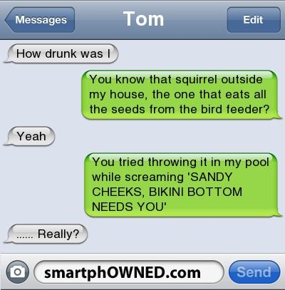 Other - TomHow drunk was IYou know that squirrel outside my house, the one that eats all the seeds from the bird feeder?YeahYou tried throwing it in my pool while screaming 'SANDY CHEEKS, BIKINI BOTTOM NEEDS YOU......'  Really?