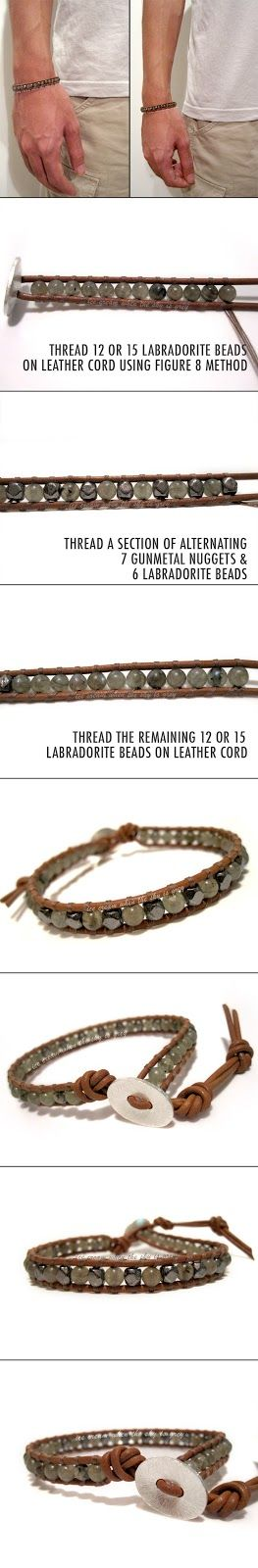 ice cream when the sky is grey: DIY Bracelet: Valentine's Gift Idea For Men - Single Wrap Gunmetal & Labradorite Mix On Natural Brown Leather