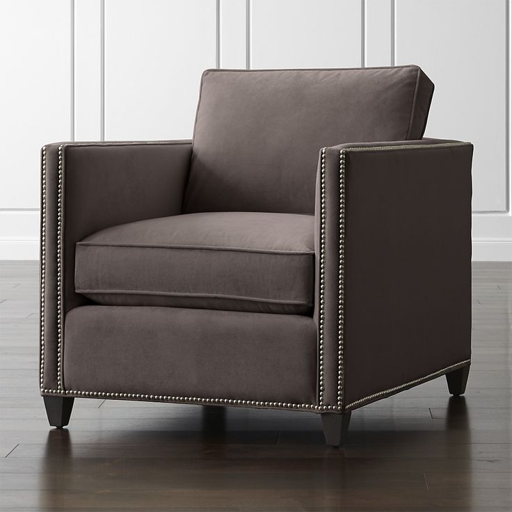 Shop Grey Velvet Chair with Nailheads.   Brushed pewter nailhead trim is hand-applied to add a touch of polish and classic definition.  The Dryden Chair with Nailheads is a Crate and Barrel exclusive.