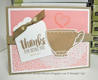 Stampin' Up!- 'A Nice Cuppa' with coordinating framelits called Cups & Kettle, along with the Love Blooms Designer Paper Stack!